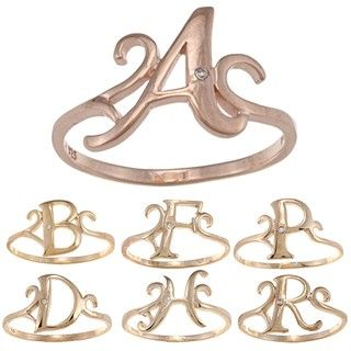 La Preciosa Rose Gold Over Sterling Silver Cubic Zirconia Initial Ring
