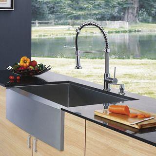 Vigo Farmhouse Stainless Steel Kitchen Sink Dispenser and Faucet