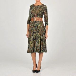 Tiana B Womens Paisley Printed Belted Dress