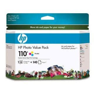 HP 110 Ink Cartridge, w/ 140 Photo Sheets, Tri color