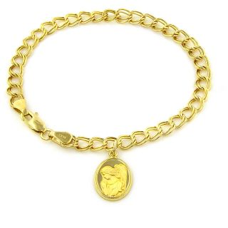 14k Gold Guardian Angel Charm 7 inch Link Bracelet