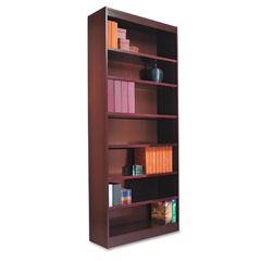 Alera Traditional 7 Shelf Square Corner Bookcase   Mahogany
