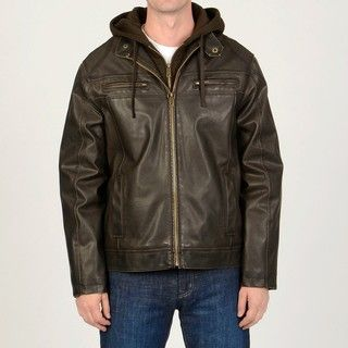 Mens Brown Faux Leather Hoodie