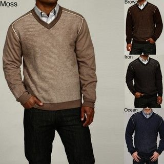 Oggi Moda Mens V neck Merino Wool Sweater