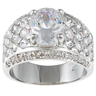 Kate Bissett Silvertone Clear Cubic Zirconia Wedding style Ring