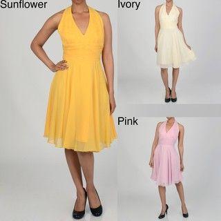 Issue New York Womens Cinch Waist Halter Evening Dress