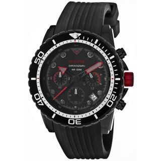 Red Line Mens Piston Black Textured Silicone Watch