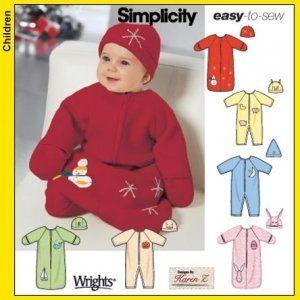 Simplicity Schnittmuster 7382 A Baby Schlafsack, Strampler, Mützen Gr