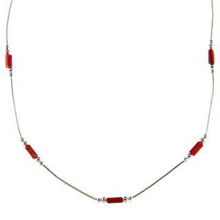 Southwest Moon Dyed Red Coral Station Liquid Metal 16 inch Necklace