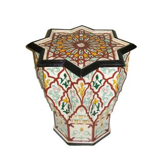 White and Red Handpainted Arabesque Wooden Moroccan Star End Table