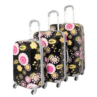 Rockland Vision Black/ Pink Flower 3 pc Hardside Spinner Luggage Set