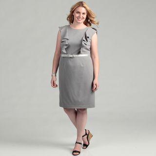 Calvin Klein Womens Plus Size Tin Ruffle Dress