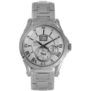 Seiko Mens Kinetic Premier Silver Dial Stainless Steel Watch