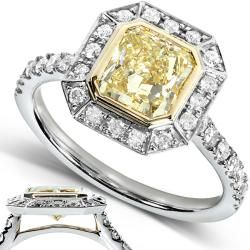 14k Gold 1 3/4ct TDW Certified Yellow and White Diamond Ring (FY, SI1