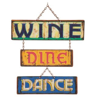Handpainted Wine & Dine and Dance Sign (Mexico)