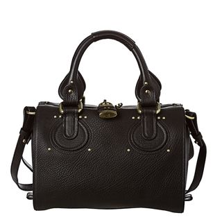 Chloe Small Black Textured Leather Satchel Bag