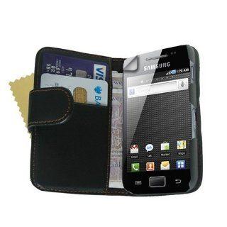 Neues Qualität Schwarz Leder Schutzhülle Für Samsung Galaxy Ace