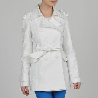 Ivanka Trump Womens Embroidery Detail Double Breasted Belted Trench