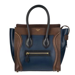 Celine Micro Leather Luggage Tote Handbag