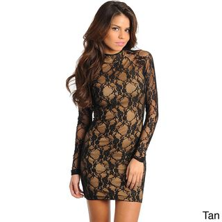 Stanzino Womens Lace Sheath High neck Party Dress