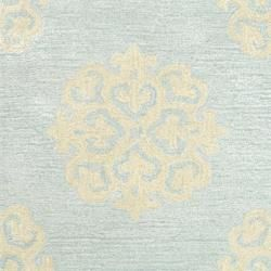 Handmade Soho Medallion Light Blue New Zealand Wool Rug (2 x 3