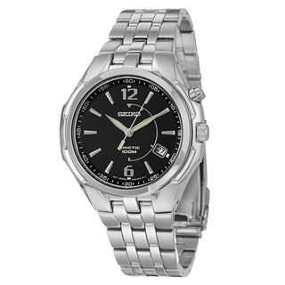 Seiko Mens Stainless Steel Kinetic Power Reserve Watch
