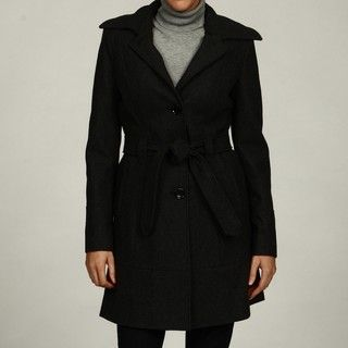 Anne Klein Womens Charcoal Belted Coat FINAL SALE