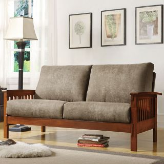 ETHAN HOME Hills Mission style Oak and Olive Sofa