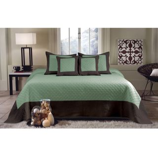 Brentwood Seafoam Blue / Brown Quilted 3 piece Bedspread Set