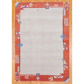 Indo Hand knotted Ivory/ Rust Tibetan Wool Rug (56 x 8)