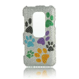 Luxmo Dog Paw Rhinestone Protector Case for HTC EVO 3D