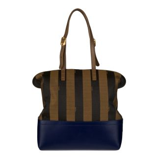 Fendi 2 bag Tobacco/ Blue Canvas Tote Bag