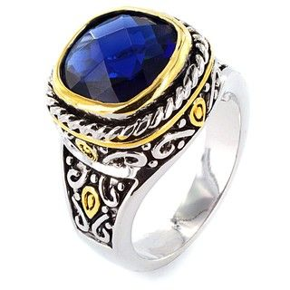 Two tone Sapphire Design Polished Ring