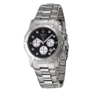 Bulova Mens Marine Star Stainless Steel Diamond Quartz Watch