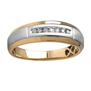 10k Two tone Gold Mens Diamond Accent Wedding Band (I J, I 2