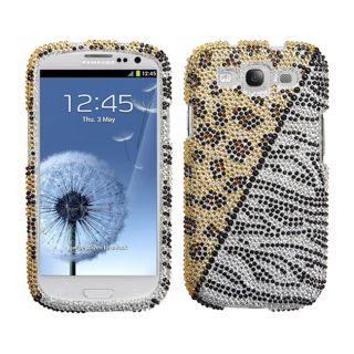 Premium Samsung Galaxy S III/ S3 Zebra Leopard Rhinestone Case