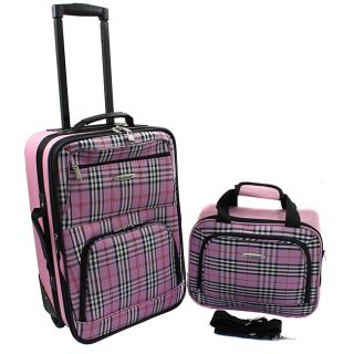 Rockland Black Cross 2 Piece Lightweight Carry On Luggage Set MSRP $