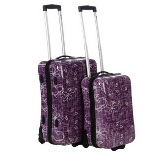 Benzi Printed 2 piece Hardside Spinner Checked/Carry On Luggage Set