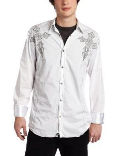 Roar Mens Worth Button Down Shirt, White, Large Clothing