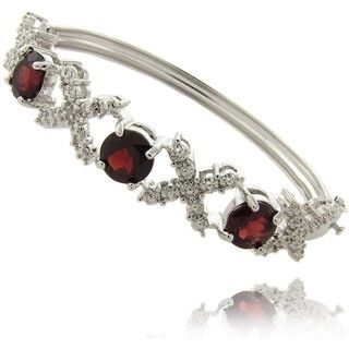 Gem Jolie Silver Overlay Garnet and Diamond Accent X and O Bangle