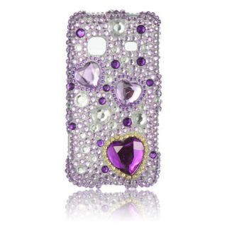 Luxmo Purple Heart Rhinestone Case for Samsung Galaxy Prevail
