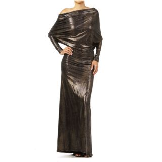 Tabeez Womens Off Shoulder Bronze Printed Maxi Dress