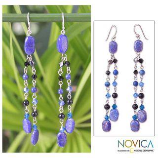 Silver Blue Rain Shower Lapis Lazuli Earrings (Thailand)