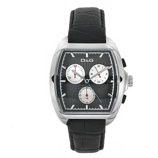 Dolce & Gabbana DW0429 Mens Martin Stainless Steel/ Black Leather