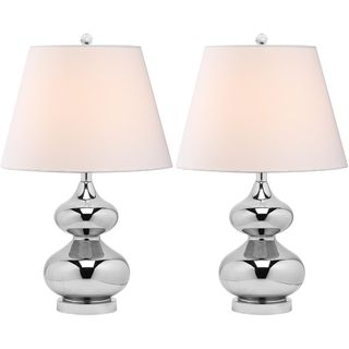 Eva Double Gourd Glass Silver 1 light Table Lamps (Set of 2