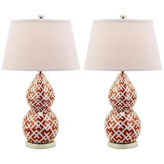 Cross Hatch Double Gourd 1 light Orange Table Lamps (Set of 2