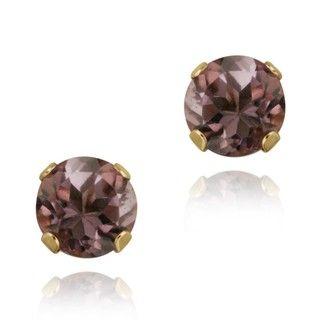 Glitzy Rocks 14k Yellow Gold 4/5ct TGW 5 mm Amethyst Stud Earrings