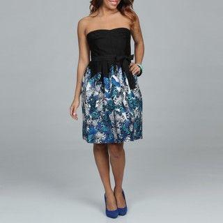 Spense Womens Black Floral Skirt Dress