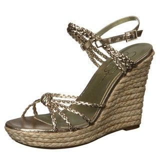 Jessica Simpson Womens Coronia Strappy Rafia Wedge Sandal