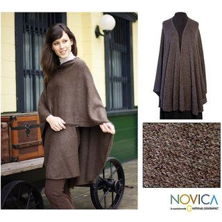 Alpaca Wool Brown Tweed Wrap (Peru)